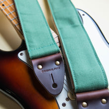 Green cotton canvas guitar strap with Fender Jazzmaster by Original Fuzz