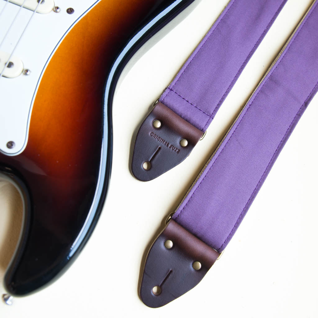 Purple cotton canvas vintage-style guitar strap made by Original Fuzz in Nashville, TN. with a Fender Jazzmaster.