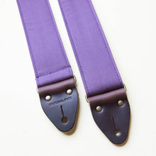 Purple cotton canvas vintage-style guitar strap made by Original Fuzz in Nashville, TN.