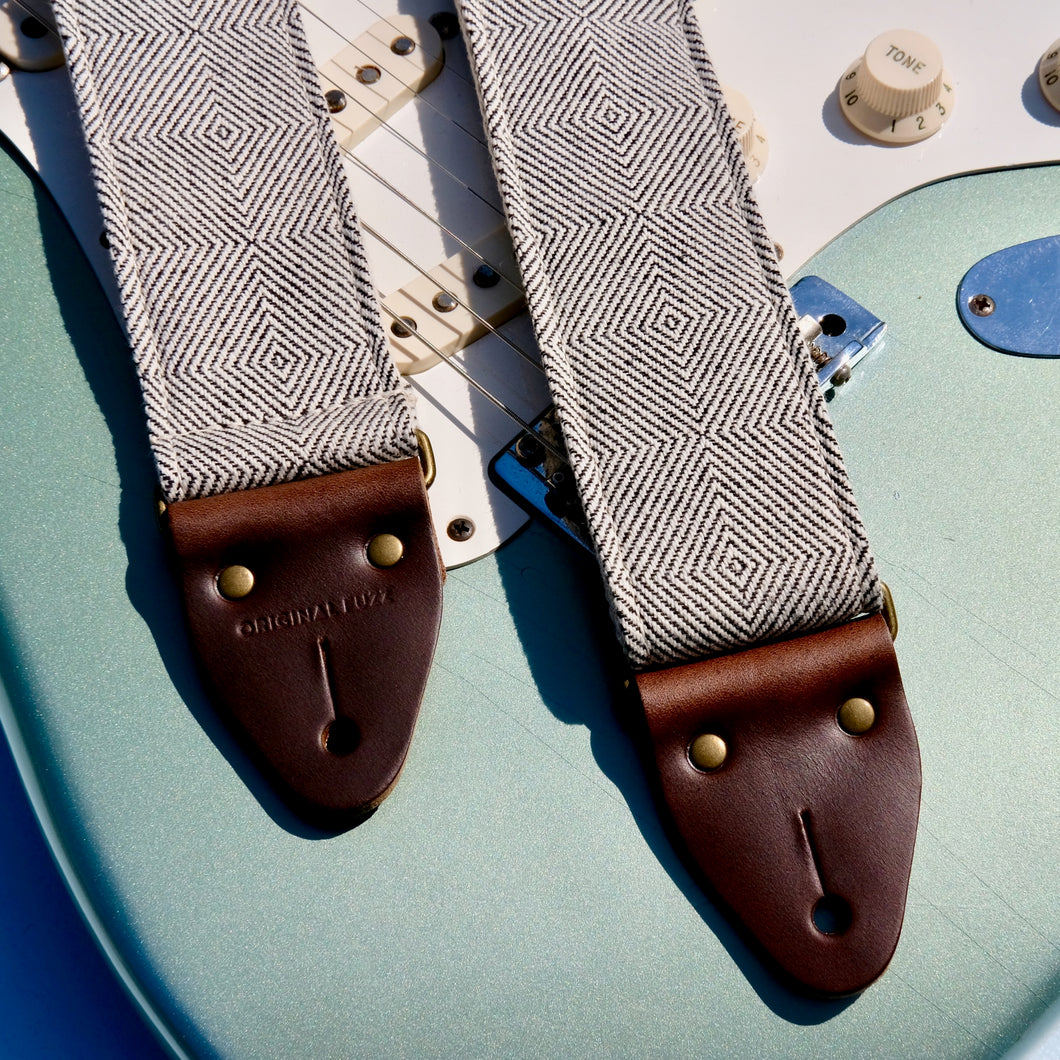 Woven black and cream guitar strap made with imported fair-trade fabric from Indian in Nashville by Original Fuzz.