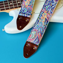 Navy paisley cotton guitar strap handmade in Nashville.