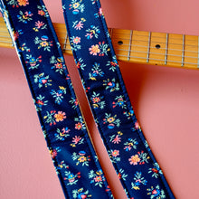 Classic navy floral handmade guitar strap by Original Fuzz in Nashville, TN.