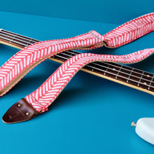 Red cotton silkscreened unique guitar strap handmade in Nashville by Original Fuzz.