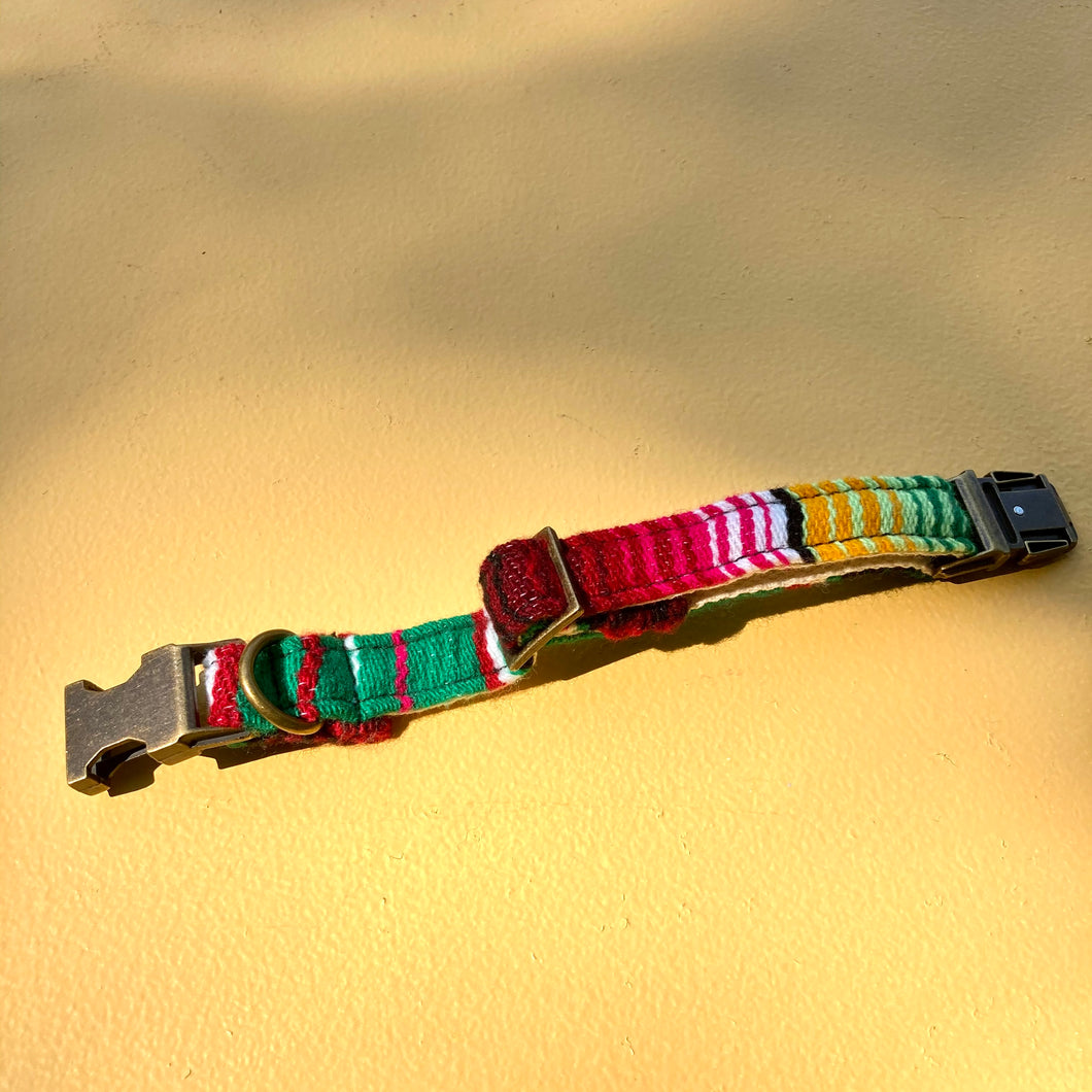 Small Serape Dog Collar in Green Serape