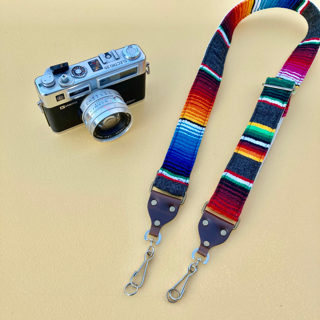 Skinny Serape Camera Strap in Carbón