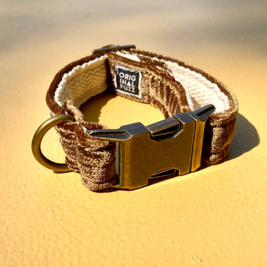 Small Velvet Dog Collar in Brown