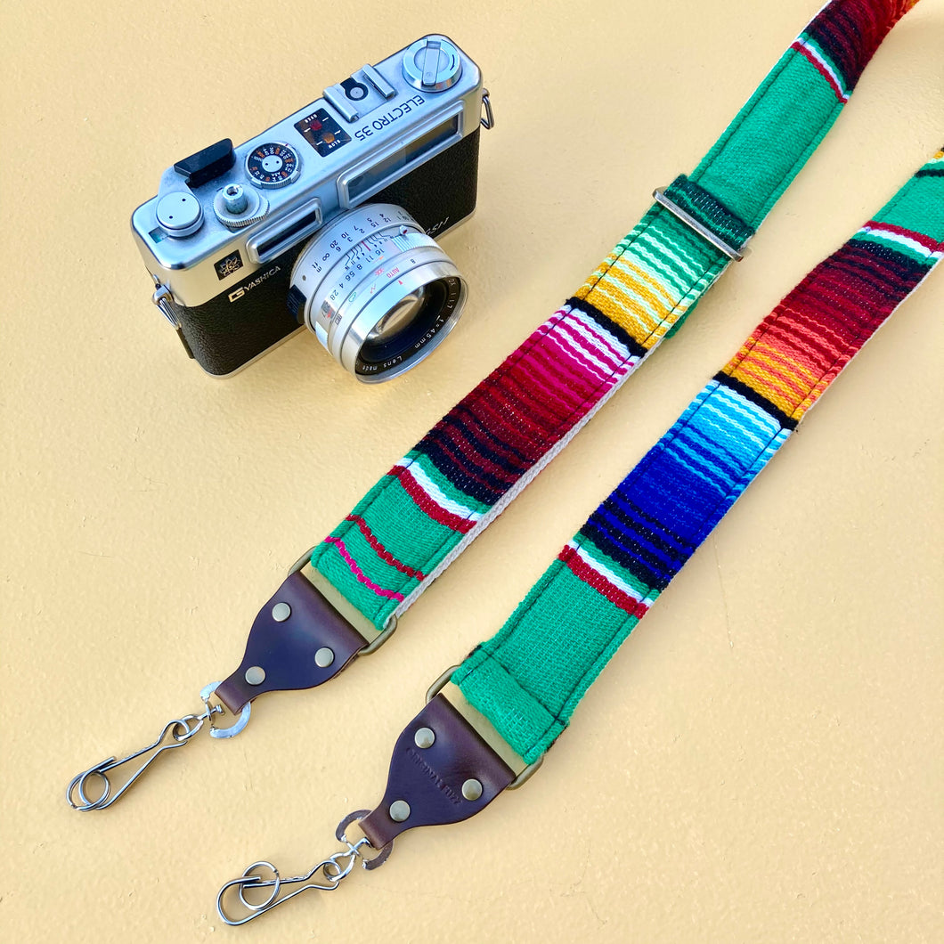 Skinny Serape Camera Strap in Avocado