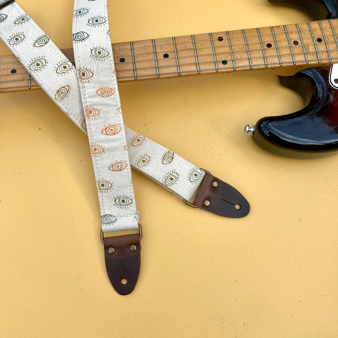 Silkscreen Skinny Guitar Strap in Third Eye
