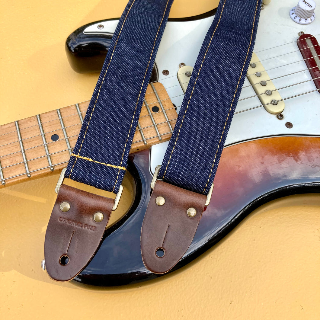 Nashville Series Skinny Guitar Strap in Blue Denim