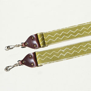 Vintage-style camera strap made with block printed fabric from India in green by Original Fuzz.