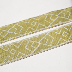 Block-printed Indian fabric in green with a traditional cream design vintage-style camera strap by Original Fuzz.