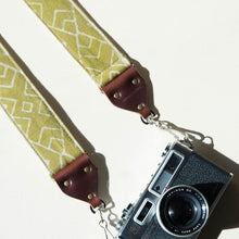 Indian block-printed cotton fabric in green with cream pattern vintage-style camera strap by Original Fuzz.