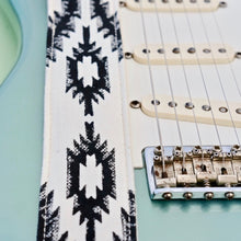 Southwestern print vintage-style guitar strap made by Original Fuzz in Nashville with block print fabric from India.