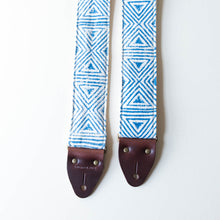 blue and natural cream white wood block printed guitar strap from India collection by Original Fuzz