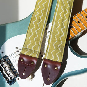 Vintage-style guitar strap made with block printed fabric from India in green by Original Fuzz.