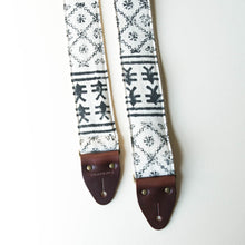 Vintage-style guitar strap made with black ink block-printed on white cotton fabric from India by Original Fuzz.