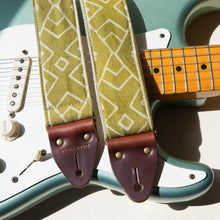 Natural lime green Indian block print guitar strap by Original Fuzz with Fender Stratocaster.