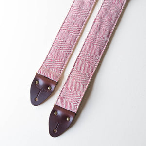 Red and cream herringbone woven cotton from India vintage-style guitar strap made by Original Fuzz.
