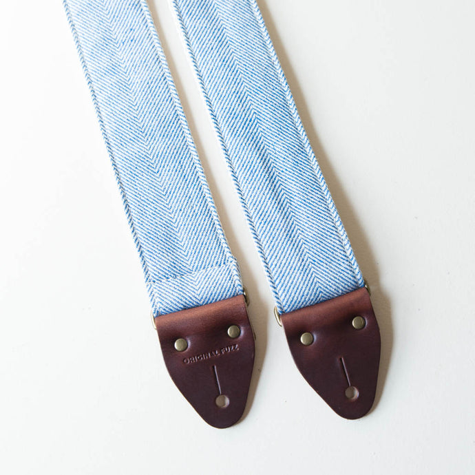 blue and natural cream white striped herringbone guitar strap from India collection by Original Fuzz
