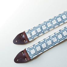 Cream and navy India block print vintage-style guitar strap by Original Fuzz.