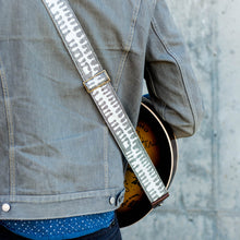 White and gray skeletal spine India block print vintage-style guitar strap by Original Fuzz.