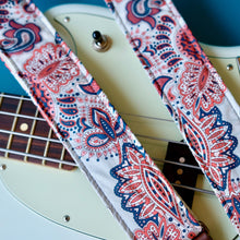 Navy and red paisley guitar cotton guitar strap handmade in Nashville.