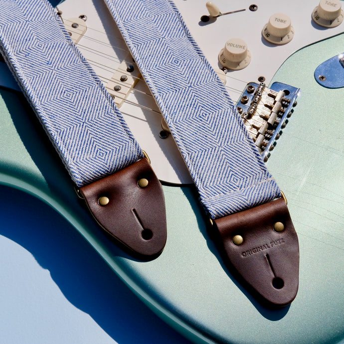 Blue and cream woven guitar strap made in Nashville using fair-trade fabric imported from India.