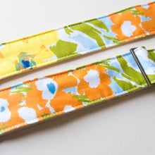 Floral vintage-style camera strap made with reclaimed cotton fabric by Original Fuzz.