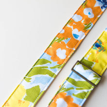 Floral guitar strap made with vintage fabric by Original Fuzz.