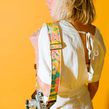 Original Fuzz vintage-style yellow floral camera strap.