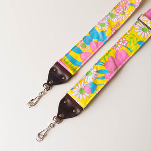 Vintage-style floral camera strap made with reclaimed yellow fabric 2