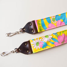 Vintage-style floral camera strap made with reclaimed yellow fabric 3