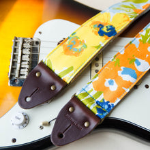 Floral guitar strap made with reclaimed cotton 2