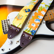 Floral guitar strap made with reclaimed cotton 4