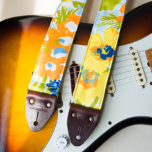 Floral guitar strap made with reclaimed cotton 1