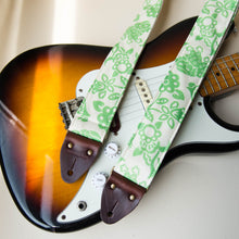 Vintage green floral print guitar strap made with with reclaimed 60s cotton 4