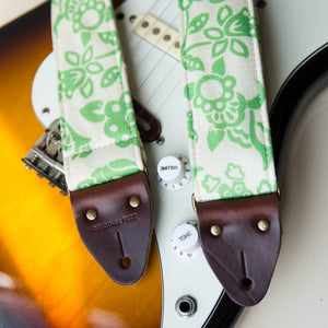 Vintage green floral print guitar strap made with with reclaimed 60s cotton 2