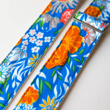 Vibrant blue floral guitar strap made with reclaimed vintage polyester 2