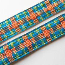 Vintage 70s plaid polyester guitar strap made with repurposed fabric by Original Fuzz.