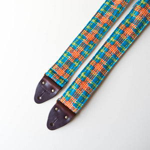 70s plaid polyester guitar strap 1