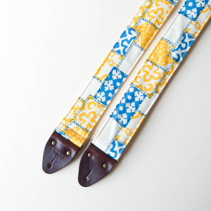 70s print vintage guitar strap made with reclaimed fabric 2