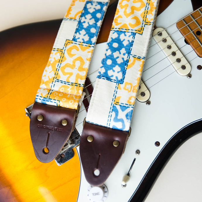 70s print vintage guitar strap made with reclaimed fabric 1
