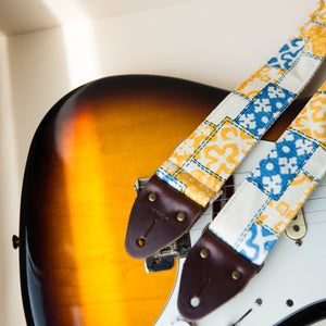 70s print vintage guitar strap made with reclaimed fabric 4