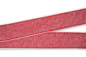"Fabric detail of Nashville guitar strap in soft red linen ""Berry Hill"""
