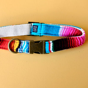 Small Serape Dog Collar in Light Blue Serape Product detail photo 2