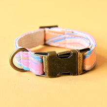 Psychedelic cotton print dog collar in pink and blue swirl made by Original Fuzz in Nashville.