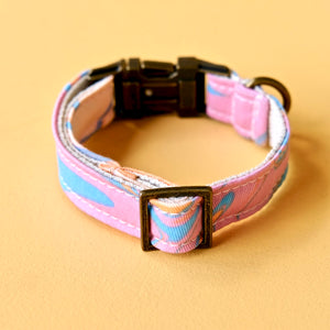 Small Print Dog Collar in Pink & Blue Sherbet Swirl Product detail photo 3