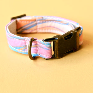 Small Print Dog Collar in Pink & Blue Sherbet Swirl Product detail photo 2