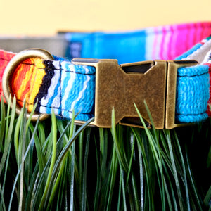 Small Serape Dog Collar in Light Blue Serape Product detail photo 1