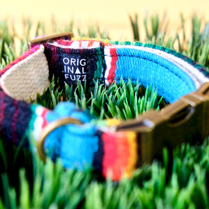 Original Fuzz dog collar made in Nashville with light blue serape fabric.
